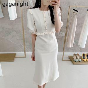 Gaganight femmes élégantes Maxi Robe moulante bouton perle Ruches bureau Lady coréenne Robes Solid Slim Une ligne Vestiod été Chic