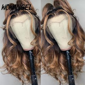 13x6 biondo miele Ombre Colori Evidenziare 150% parte anteriore del merletto umani parrucche capelli per le donne Remy brasiliano invisibile Pre Pizzico