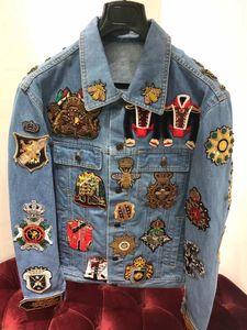2019 automne nouvelle veste Demin Décoration broderie design mens LUXURY Couronne américaines TAILLE vestes ~ TOPS concepteur veste pour les hommes Demin