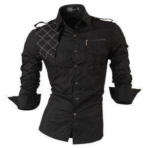 jeansian Männer lange Hülsen-Kleid-beiläufige Hemden nehmen passende Mode stilvolle Designer Militär 8371 T200422
