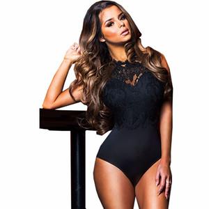 2019 Seksi Kadınlar Dantel Bodysuit Yüksek Boyun Aç Geri Bodycon Vücut Kadın Bodysuit Romper Combinaison Tops Siyah / beyaz / pembe
