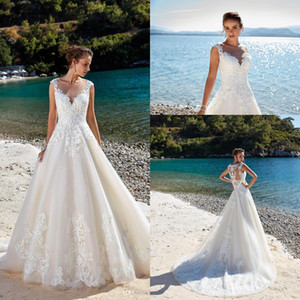 Vestidos De Casamento Do Laço Do Marfim elegante 2019 Mangas Rendas Lace Apliques Illusion Voltar Vestidos de Noiva Do Casamento de Verão Desgaste BC1310