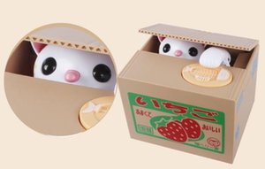Children's Cartoon Electric Money Stealing Cat Japanese Fruit Box Coin Savings Cans Creative Eating Money Cat Savings Cans Toys