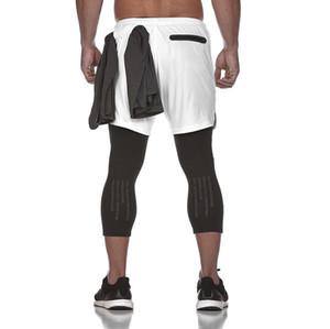 Casual Fitness Jogger Skinny Faux deux-pièces pantalons pour hommes pour les garçons New Gym Sportswear Slim pantalons courts