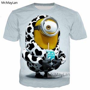 Nette Minions Cartoon-Trinkmilch 3D-Druck-T-Shirt Männer / Frauen Kawaii T-Shirt 2018 Sommer Street T-Shirt T-Shirts Jungen-Kleidung 5XL