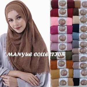 Prix de gros 90 * 180cm femmes musulmanes Crinkle Hijab Scarf Femme Coton musulman foulard islamique Hijab châles et