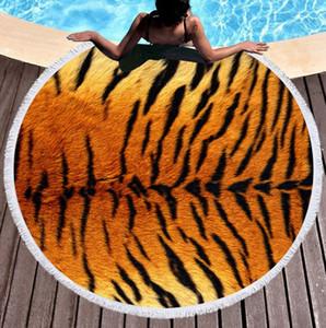 Круглый пляжное полотенце Леопард пляжные одеяла из микрофибры плавание полотенце кисточкой скатерть йога коврик для пикника коврики Serviette De Plage WZW-YW3659