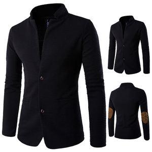 남자는 재킷 팔꿈치 pacthwork Anti-wear 패브릭 디자인 긴 두 가지 버튼을 순수한 색깔은 남성 사업 코트에는 무료 배송 XY618