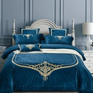 Европейский стиль Шик вышивки комплект постельных принадлежностей Untra Мягкий теплый плюшевый Постельное белье Античный Серый Синий Комплект постельных принадлежностей Queen King 4шт