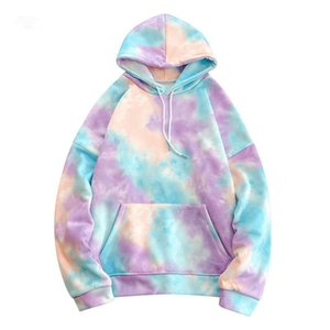 Hoodies Sweatshirts Männer Känguru-Tasche Abbindebatik PulloverHoodie 2020 Winter Fashion Style-Maxi-Hoodies Street