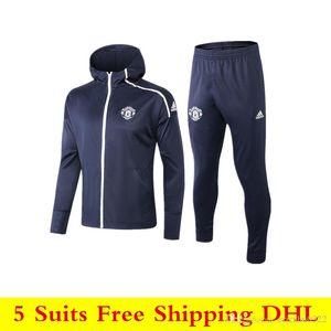 19 20 New Man United Hoodie ajustado 2019 2020 Manchester MAGUIRE treino de futebol Rashford Pogba manga comprida Zipper camisola Futebol uniforme
