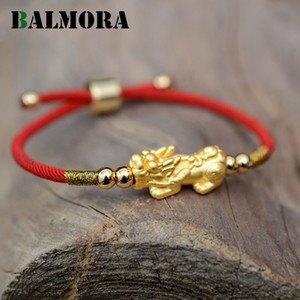 Bracciali fune Balmora Lucky Red 999 puro argento PIXIU colore dell'oro tibetani buddisti Nodi Charm Bracelet regolabile per le donne gli uomini