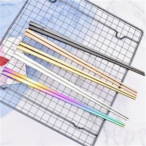 Yeni Geliş 304 Paslanmaz Çelik Chopsticks Altın Gökkuşağı Renkli Sigara Kayma Sofra Isı Yalıtımı Düğün Hediye 3 6QD H1