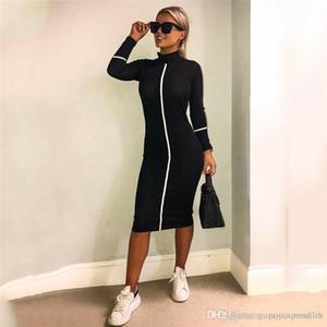 Femmes Designer Robes moulantes manches longues col montant Mi-mollet Vêtements Femmes Eté Automne Vêtements décontractés
