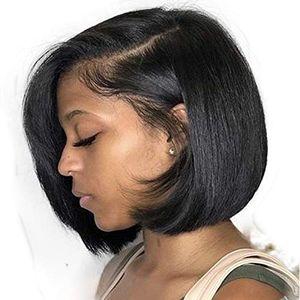 Oulaer Saç 13x4 Dantel Ön Peruk Kısa Bob Düz Brezilyalı Remy İnsan Saç Bob Siyah Kadınlar için Peruk İnsan Saç Dantel Ön Peruk