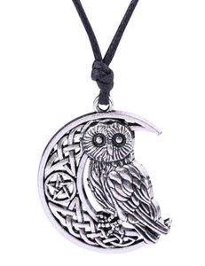 Vintage surnaturel Wicca Moon Star creusé pendentif mignon hibou animal collier irlandais noeud viking amulette bijoux