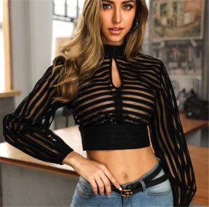 Perspectiva listrada Designer Tshirts Mulheres Sexy Magro Sem Costas Manga comprida U Neck pulôver curto camisetas Womens Tees Moda