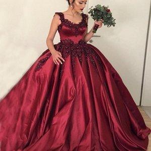 SCOOP WECK без рукавов Горячие красные вино цветные бордовые свадебные платье свадебное платье, сделанное в Китае кристаллы Кружевные аппликации атласная невеста