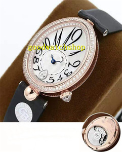 Diamond GB Reina de Nápoles 8918BR lujo mujer del reloj de oro rosa diamante del reloj de señoras Cal.537 / 3 automático de la madre-de-perla zafiro Esfera