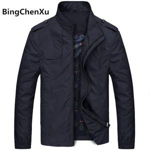 Bingchenxu Katı Renk Ceket Erkekler Marka Ceketler Moda Trend Slim Fit Casual Erkek ceketler Ve Coats M-4XL 2019 Veste Homme 487 MX191105