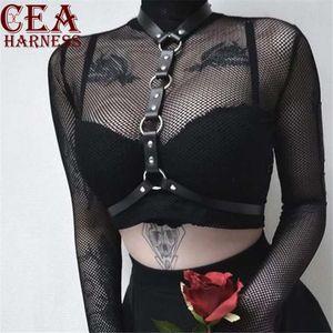CEA.HARNESS New Leather Harness Sexy Chest Sculpting Body Waist Belt Punk Gothic Sexy Bra BODY Bondage PU Leather Waist Belts