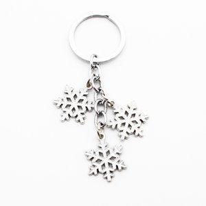 Freies Verschiffen durch DHL 100pcs / lot New Metal Snow Flake Schlüsselanhänger Schneeflocke Schlüsselanhänger Snowflake Keyholders Winter-Geschenke