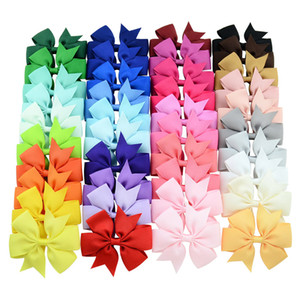 Bébé fille nœud papillon Hairpin 3 pouces 40 Couleur Six oreilles couleur pure Fileté Fishtail Bow cheveux clip enfants Desinger coloré Barrettes 06