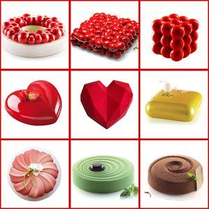 أدوات تزيين الكيك قالب 3D سيليكون قوالب الخبز على القلب جولة كعك الشوكولاته براوني موس تقديم الحلوى عموم