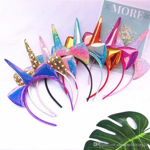 Girls Unicorn headband Laser Glitter Hairband Rainbow Cat Ears Headwear Photo Props Party Hair Hoop Kids Hair Accessories Ins