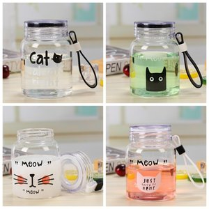 350ML Mini Wide Mouth Glass Water Bottle Cute Cartoon Pattern Drinking Container Travel Mug With