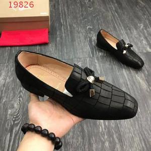 scarpe di affari di usura del progettista dei nuovi uomini, fannulloni di alta qualità di marca del cuoio, moda scarpe da sposa ritorno a casa 07