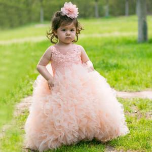 보라색 핑크 유아 소녀의 미인 드레스 깎아 지른 크루 목 레이스 아플리케 공 가운 공주 귀여운 아기 소녀 꽃 소녀 드레스