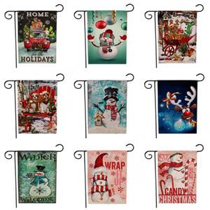 Santa Claus Impression Bannières Thème De Noël Motif Jardin Drapeaux Deux Côtés Bonhomme De Neige Motifs Multi Couleurs Drapeau TTA1707