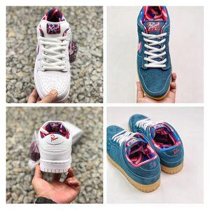 Alta qualità 2019 New Parra Dunk SB Scarpe basse Amici e famiglia Bar Detroit Uomo Donna Sneakers bianche da skateboard rosa Taglia 36-45