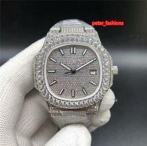 Серебряный Diamond Мужские часы 2-камень Алмазный диск Мода Горячие наручные часы продажа Top Boutique автоматические механические часы