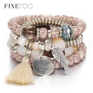 Multi Layer Kristall Naturstein Perlen Freundschaft Armbänder für Frauen Boho Quaste Engelsflügel Bettelarmband Handgemachten Schmuck