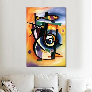 High quality Wall art abstract paintings by Alfred Gockel STRIPED FISH oil on canvas hand-painted modern artwork picture for Home decor