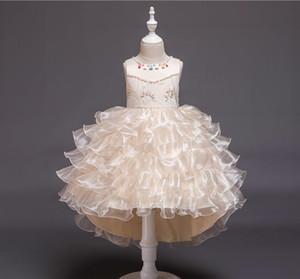New style children's dress girl net gauze Peng Peng skirt model show children's evening dress beaded dress factory wholesale