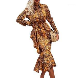 Elbise Bahar Tasarımcı Yaka Boyun Fishtail Uzun Kollu Elbiseler Dişiler Uzun Kollu Günlük Moda Elbise Kadın OL Leopard Print