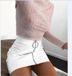 Seksi Kadın Moda Yüksek Bel Zip Faux Deri Kısa Kalem Bodycon Mini Etek Yeni Katı Beyaz Etek