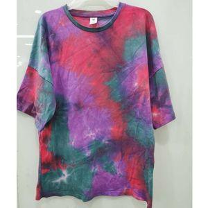 Tie Dye Mens T-shirt 2020 estate HipHop unisex girocollo irregolare modello magliette 100% cotone sciolto Oversize Coppia Tee Shirts