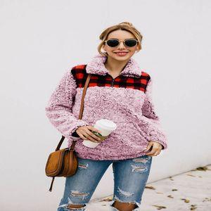Kış Sonbahar Sıcak Ceket Casual Kadın Sweatershirt Coat Yumuşak Polar Kadınlar Coat ılık 2019 yeni ekose Baskı geliş dış giyim