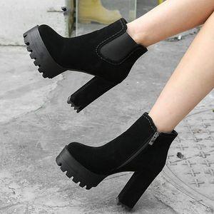 Hot Sale Add Fur Winter Boots Woman Shoes Platform Square Heels Ankle Boots Shoes Woman
