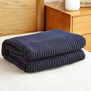 Washed Gauze Pure Cotton Stripe Retro Breathable Summer Super Soft Sofa Bedding Travel Sleeping Cover Blanket For Adult Children