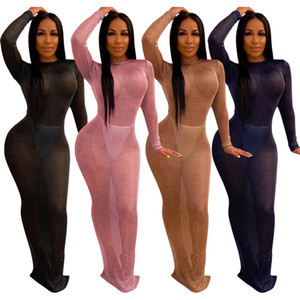 Sexy See Through Длина Ночной клуб Long Bodycon платье Sassy Lady Длинные рукава O шеи Backless Bottom Split платье партии пола