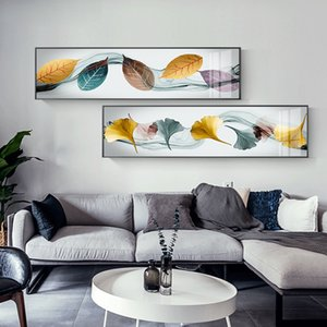Abstract Green Orange Yellow Feather Canvas Art Modern Wall Pictures for Living Room Aisle Nordic Ginkgo Biloba Posters Prints