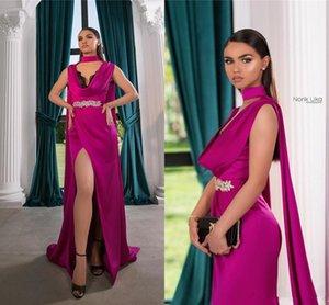 Cristalli Fuchsia Aso Ebi arabo sexy economici Guaina Prom Dresses Halter Dress High Side Split Evening Wear abiti del partito vestidos de fiesta