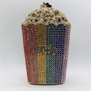 La dernière conception Popcorn embrayage sac à main de soirée de mariage nuptiale bourse de mariage en cristal bourse et sac à main exquis chaîne sac à bandoulière