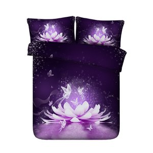 Фиолетовый цветок лотоса Покрывала Пододеяльники бабочка Постельные наборы азиатских Цветочные Star Galaxy Кровать Обложка Розовый Синий Белый покрывалом 3 шт Кровать