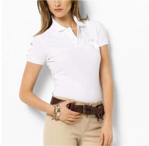Женская Роскошная Polos Повседневный Turn Down Воротник Вышивка Tees Мода Натуральный цвет Polos женской одежды